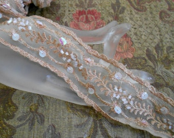 Brown Stitched Beaded Floral Trim
