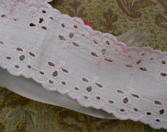 Pink Cotton Eyelet Trim