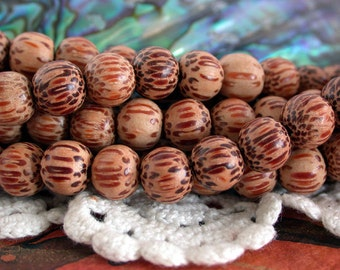8mm Palmwood Beads, 8mm Wood Beads, Natural Wood Beads, Natural Beads NAT-154