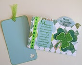 Shamrock Greeting Card with Irish Blessing, Handmade Notecard for St. Patrick's Day, File Folder Card, May Your Troubles Be Less
