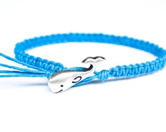 Whale Bracelet, Blue Friendship Bracelet, Button Bracelet, Handmade Hemp Bracelet, Best Friend Gift