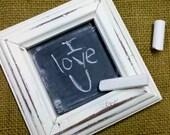 Itty Bitty Shabby Chippy Little White Chalkboard Framed