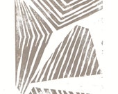 Linocut Print - Abstract Modern Lines and Shapes 5 x 7 Block Print - pw00049