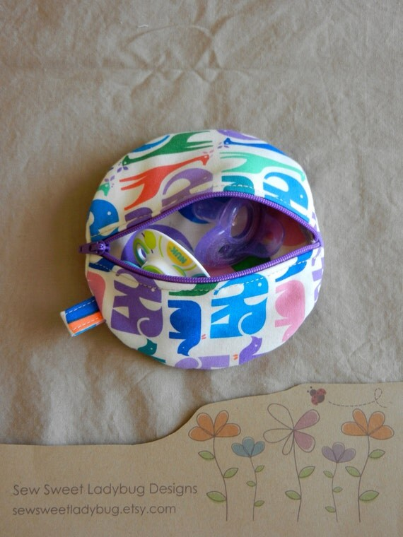Paci Pod in Eleanor Grosch for Westminster / Free Spirit fabrics Animal Stripe and Bouncy Balls Girl Paci Pod Ready to Ship
