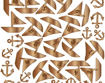 Studio Calico Atlantic Wood Veneer Boats & Anchors -- MSRP 4.00