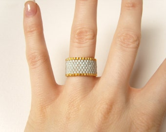 Pale Mint Ring, Seed Bead Ring, Mint and Gold, Beaded Ring UK