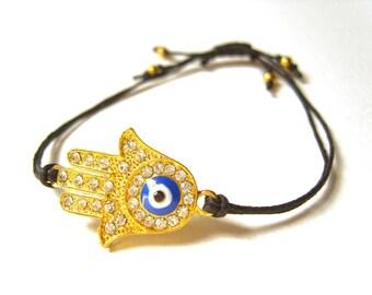 Hand Of Fatima Bracelet, Hamsa Charm Bracelet, Black Cord Bracelet, Hamsa Jewelry UK