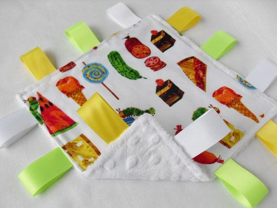 Taggie Very Hungry Caterpillar Fabric Minky toddler comforter Lovey taggy Etsy UK