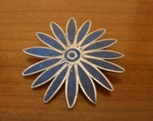 Taxco Mexico Blue Daisy Brooch / Pendant.  Sterling.  Free Shipping.