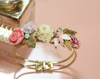 Wedding Jewelry Bracelet,Handmade Shabby Chic Floral Bouquet Cuff,Bridal Bracelet,Vintage Style,Colorful Wedding Cuff,Gold Bracelet,OOAK