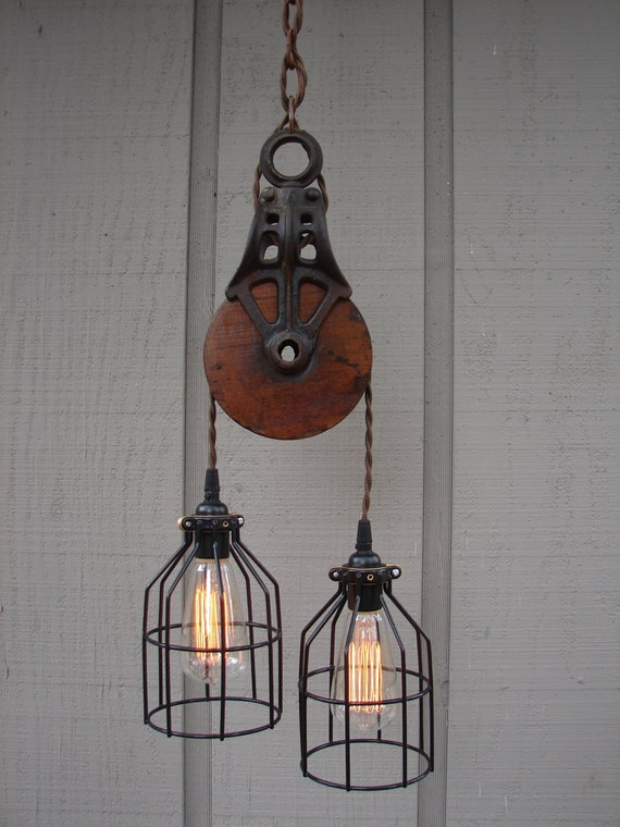 Industrial pulley pendant light for Industrial lamp kit
