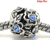 Blue Rhinestone Beads Flowers Silver - 11x10mm - 5pcs - Ships IMMEDIATELY  from California - B464