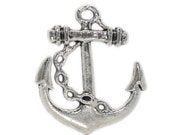 100 Anchor Charms - WHOLESALE -  Silver 25x27mm - Ships IMMEDIATELY  from California - SC643d