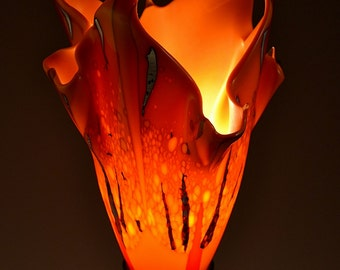 Modern Orange Flame Fused Glass Table Lamp - with Silver - Made to order