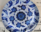 """Blue and White China Blue Transferware Glass Paperweight Gift Idea Vintage China Home Decor Office Decor 2 3/8"""" diameter, 1/2"""" thick"""
