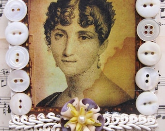 Vintage Antique Portrait, Shabby White Home Decor, Altered Repurposed Vintage Jewelry Art Jane Austen Lady Portrait Asemblage, OOAK