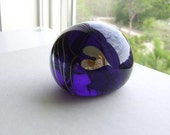 Paperweight Deep Cobalt Blue with Silvered Hearts Mt. St. Helen's Ash