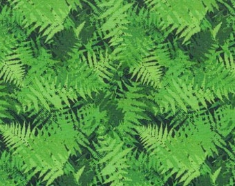Blank Quilting - Laurel Hill - Green and Black Ferns