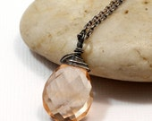Apricot Quartz Necklace, Sterling Silver Golden Peach Quartz Pendant, Wire Wrapped Gemstone Jewelry