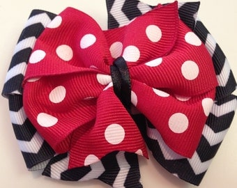 Black & White Zig Zag Stripes and Red Polka Dots Stacked Boutique Style Ribbon Bow Handmade for PETS Dog Collar Accessory