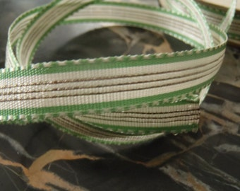 Will Divide 1920s French Green and Silver Metallic Ribbon Free Shipping