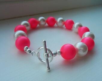 Pink and White Swarovski Pearl Bracelet