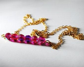 Pink Bead Necklace Bar Preciosa Element Beads Iridescent Magenta