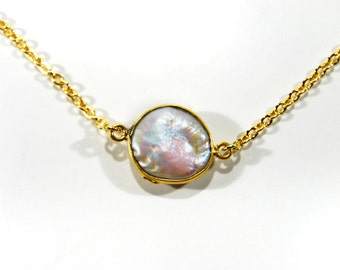 Pearl Bezel Necklace Natural Pendant Jewelry