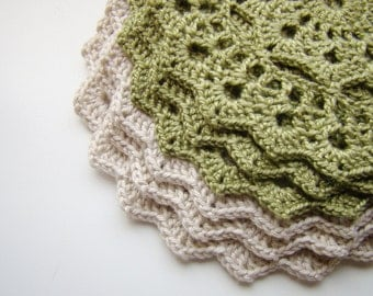Crochet Coasters Cream and Olive green - Set of 6