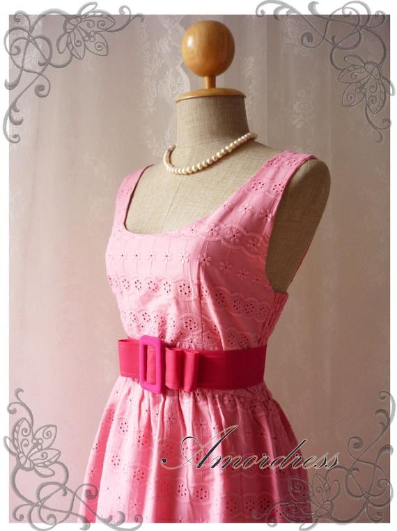 MIDYEAR SALE Pink Lace Dress Princess Lacy Romantic Pink Lace Dress Party Prom Wedding Birthday Anniversary Dress -S-M-