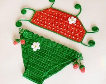Instant Download Crochet PDF Pattern - STRAWBERRY swimsuit, bikini
