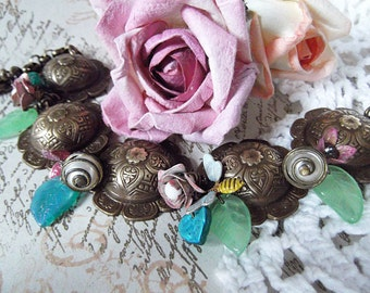 Chocolate Oxidized , Brass Scalloped Disc, Leaf and Vintage Buds, Caged Pearls Romantic Charm Bracelet