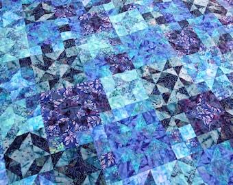 Batik Patchwork Quilt, Starlight, Handmade to Order by PingWynny blue star