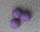 Felted beads handmade set of 3 purple beads needle felted in merino wool for jewelry or craft projects