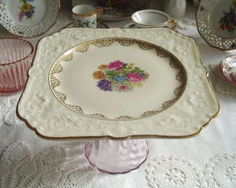 Embossed Square Pedestal Cake Stand - Bouquet Framed in Gold - Muffins - Cupcakes - Tarte - 1940s Vintage - Hutschenreuther - Selb, Germany