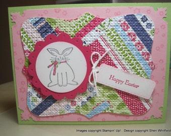 Handmade Happy Easter Herringbone Card