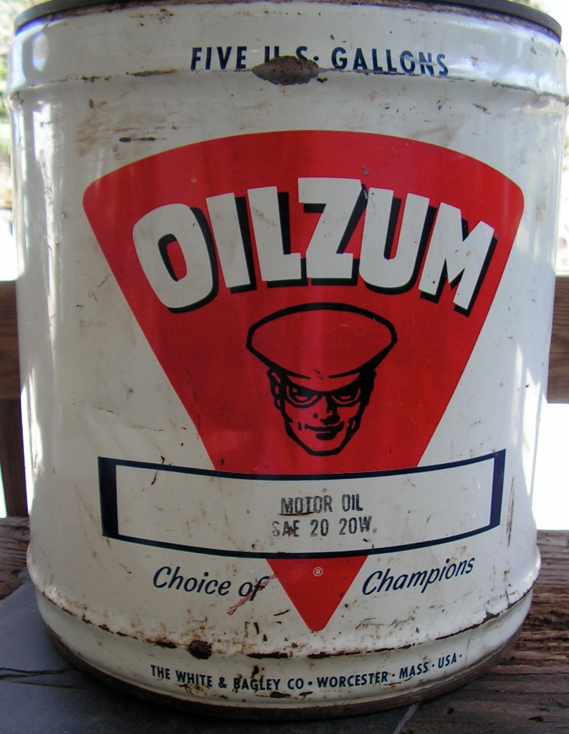 Reserved sale 40s 50s oilzum five gallon motor oil drum wood for Gallon of motor oil