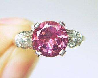 REDUCED!! 1.35ct Pink Tourmaline & Diamond Solitaire Platinum Engagement Ring