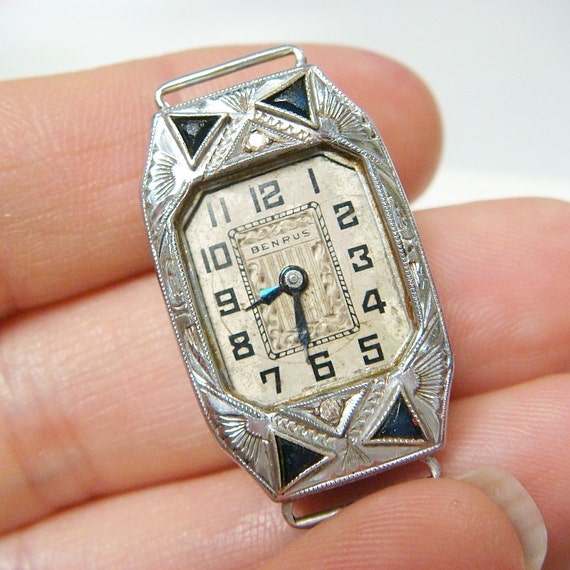 14k Benrus Art Deco Diamond & Sapphire Watch / Watch Case