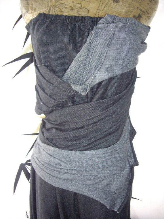 tmd: structured twisted strapless soft denim cotton jumpsuit jumper in large ready to ship