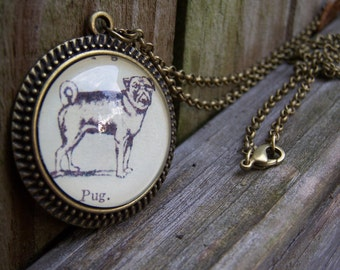 Pug Handmade Necklace-- Pug Gift Pug Jewelry- Graduation Gift--Vintage Dictionary Print Cabochon Necklace