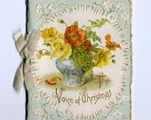 Victorian Tiny Booklet  Die Cut Embossed The Voice Of CHRISTMAS Art Lithographic