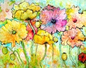 Poppies -  Fine Art GICLEE Print  - Brush Stroke enhanced on Canvas Sheet - from my original Watercolor  Painting - ebsq Artist Ricky Martin