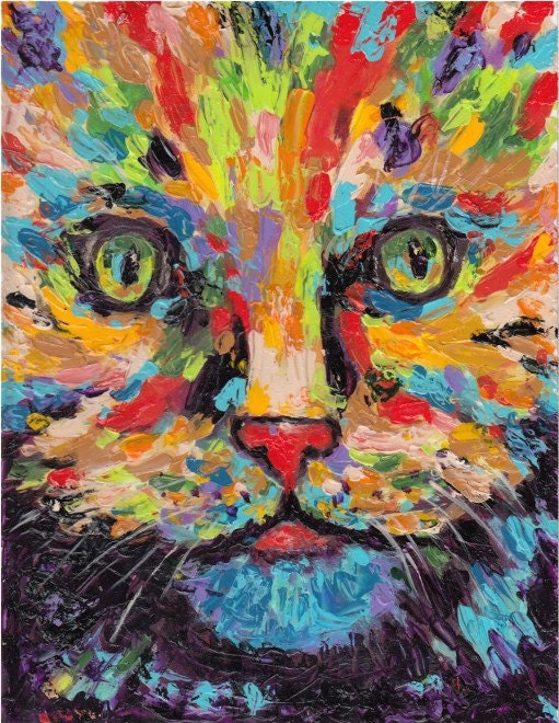 Abstract Cat Portrait Kids Room Fun Art Original Acrylic
