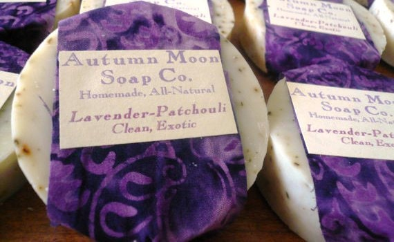 Lavender Patchouli Soap with Cocoa Butter, ALL-NATURAL, palm-free, vegan all-over bar soap and shampoo bar, solid shampoo