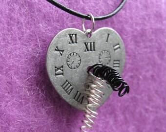 Steampunk Broken Heart necklace, exploding clock , clockwork steampunk jewelry