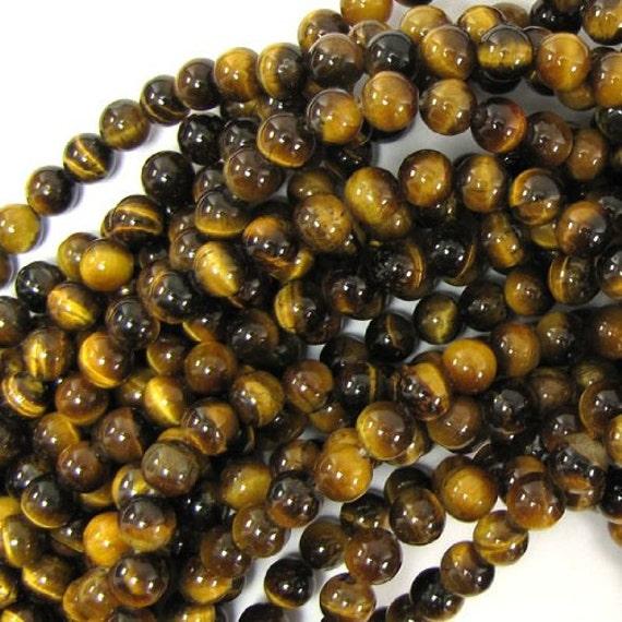 """Tiger eye beads, brown gold, tiger eye, beads, round beads, small tiger eye beads, earrings findings, 6 mm, 0.236 """" , 10 pcs, vintage beads,"""