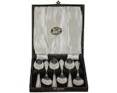 Set of Six Edwardian Spoons in Original Box, Sterling Plate, Tea Spoons