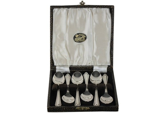 Set of Six Edwardian Spoons in Original Box, Sterling Plate, Tea Spoons