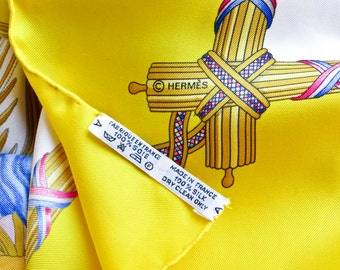 Authentic Vintage HERMES Bright Yellow Republique Francaise Oversize Scarf